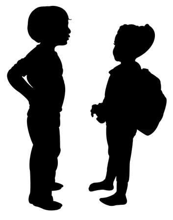 two children: two children talking, silhouette vector