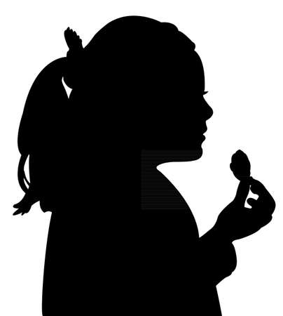 children eating: girl eating, silhouette vector