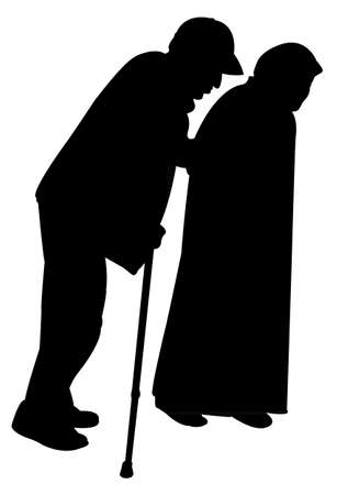 baton: A man with the baton and an old woman in black chador