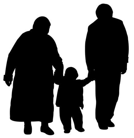baby grand: grand father and grand mother walking with a baby grand final, silhouette vector