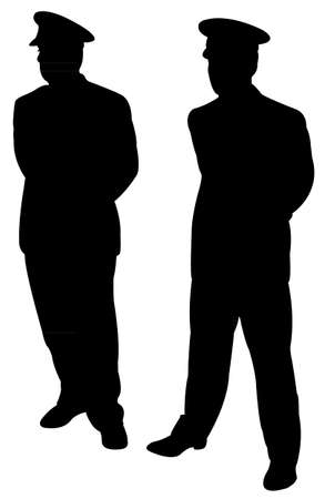 two: two men silhouette vector Illustration