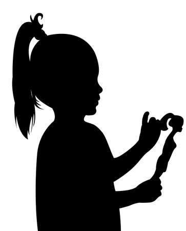 baby playing toy: toddler child holding her toy baby silhouette vector