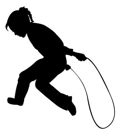 Silhouette of girl jumping rope-vector