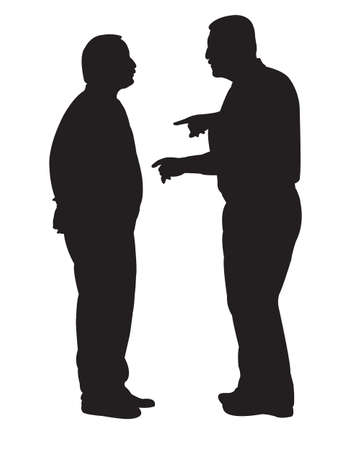 men standing: black silhouettes of two men standing and talking to each other Illustration