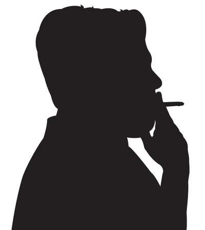 black man thinking: man smoking