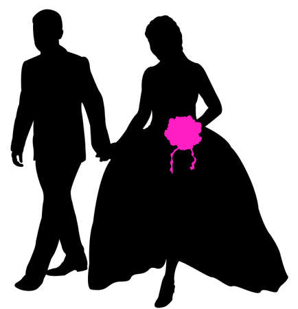 love couples: just married couple Illustration