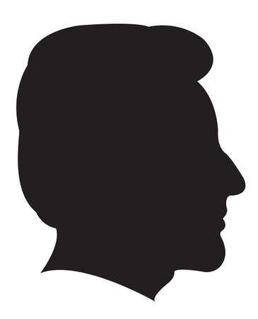 black man thinking: a man head silhouette vector