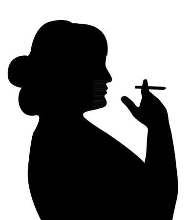 smoking woman: smoking woman silhouette vector