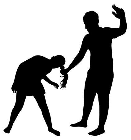 female fighter: a man hitting the girl Illustration