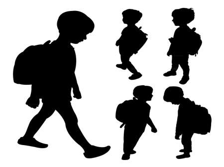 set going: back to school kid silhouette, collage set