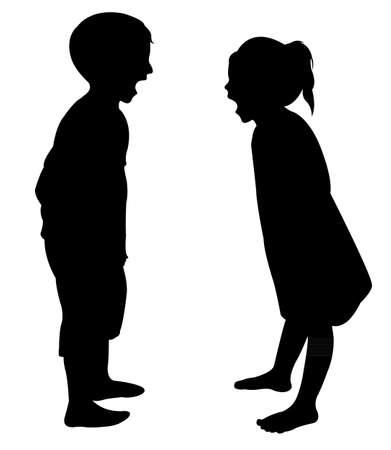 crazy children silhouette vector Ilustração Vetorial