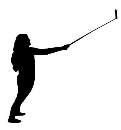 ie: taking selfie, silhouette vector
