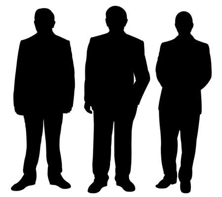 three standing man silhouette vector