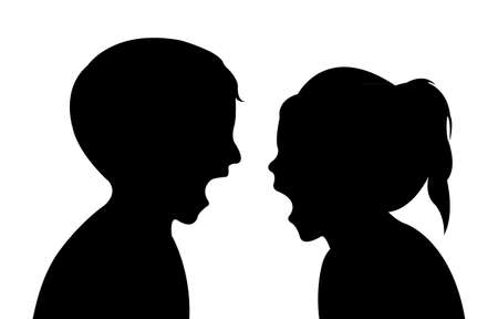 crazy children silhouette vector