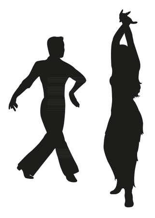 tango dancers passion on the floor Illustration