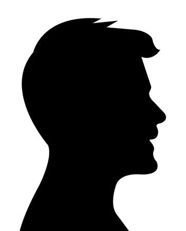 Man head silhouette vector Çizim