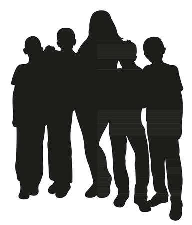 silueta niño: cuatro varones y una mujer juntos, silueta de la familia feliz Vectores