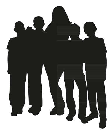 human body silhouette: four boys and a lady together, happy family silhouette