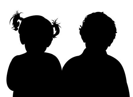 white family: two children together, silhouette vector