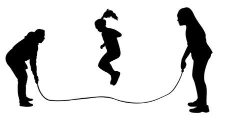 upbringing: Silhouettes of jumping rope-vector