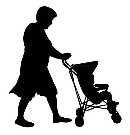 baby and mother: mother with baby stroller Illustration