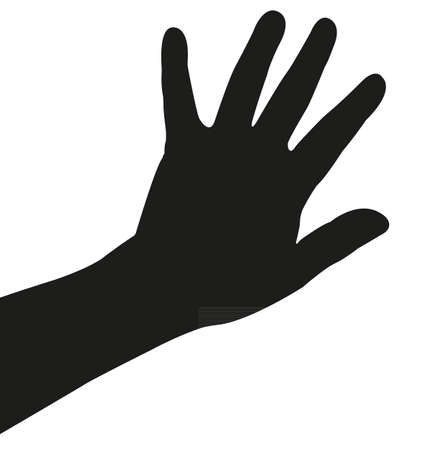 hand silhouette: lady hand silhouette vector Illustration
