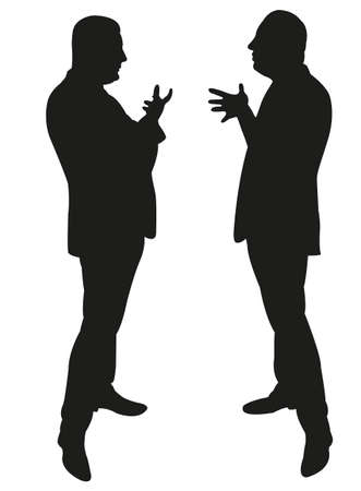 two men talking: black silhouettes of two men standing and talking to each other Illustration
