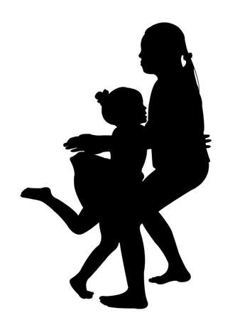 kinder garden: the girl falling down and the other is holding her, silhouette