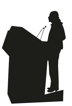 ceo: Businesspolitical speaker silhouette vector