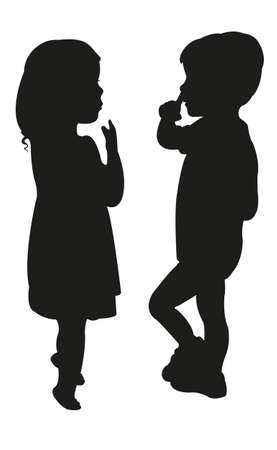 two children: two children silhouette on white background vector