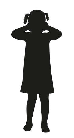 a scared child, each covering ears with hands, silhouette vector