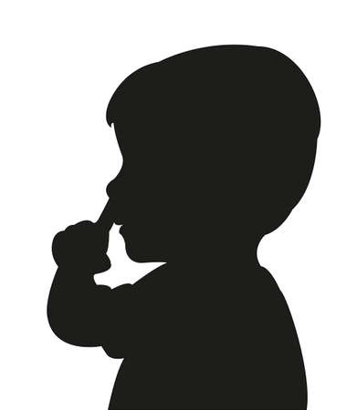 nose picking: feelings of a boy picking nose, silhouette vector