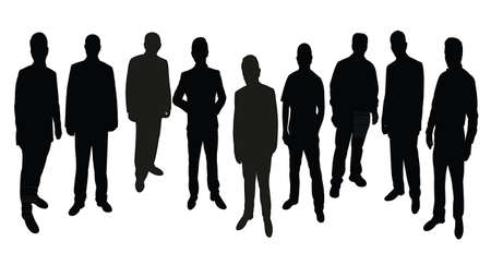hector: men silhouette standing vector Illustration