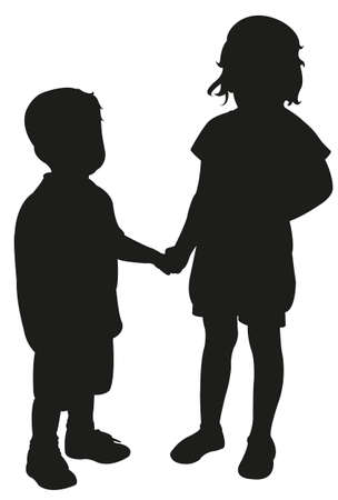 two children: two children hand in hand, silhouette vector