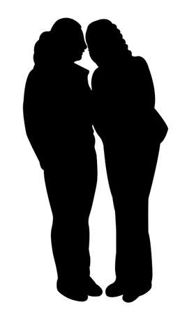 sidewalk talk: silhouettes of two people standing and talking to each other