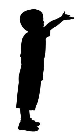 beggar child silhouette Illustration