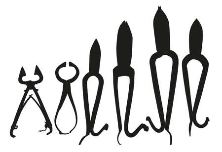 technology collage: Black silhouette of tools: pliers, split ring pliers, diagonal cutting pliers. Vector illustration