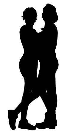 two friends: two friends together, silhouette vector