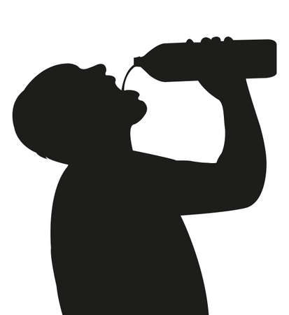 man drinking water: Man drinking bottled water - silhouette Illustration