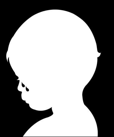 crying child: sad crying child, silhouette vector