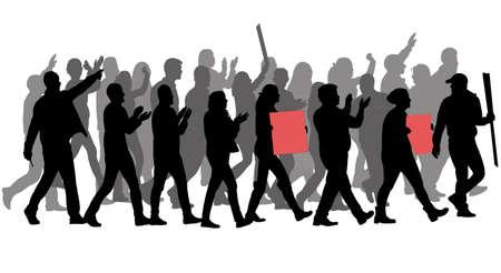 抗議者のシルエットのグループ