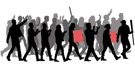 group of protester silhouette 일러스트
