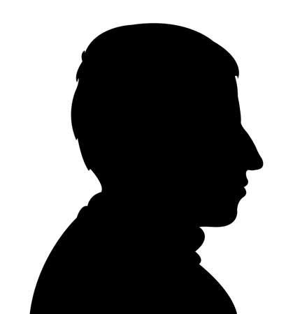black man thinking: Man head silhouette vector Illustration