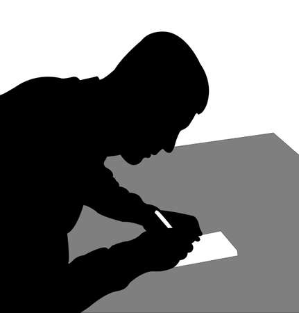 writing paper: Man writing on paper Illustration