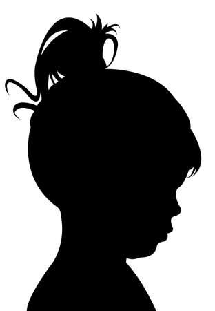 human face: kid head silhouette vector Illustration