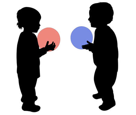 kinder garden: two children playing with ball, vector silhouette