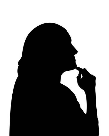 the thinker: thinker lady silhouette vector