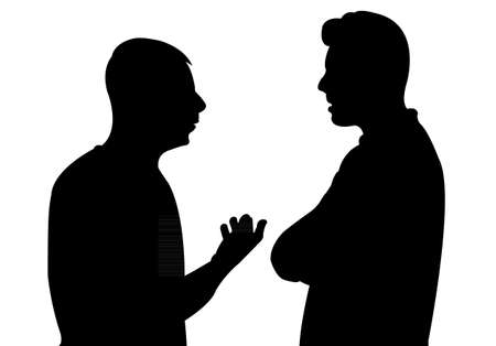 two men talking: Black silhouettes of two men standing and talking to each other