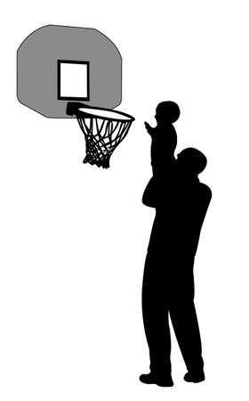 farther: playing basketball Illustration