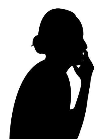 pensador: pensador señora silueta del vector